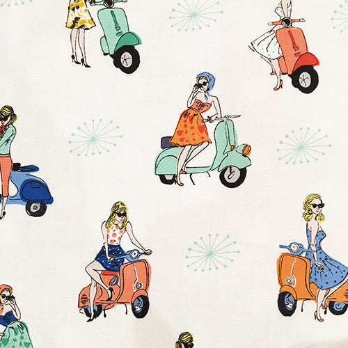"Tissu - Tissu ""Vacation Scooter Girls"" x 50 cm - Tuk Tuk Bazar - 1"