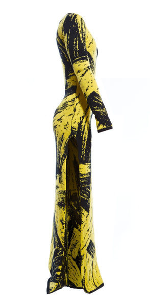 AW16 SOULAGES PAINT JACQUARD MAXI DRESS