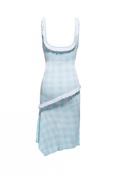 SS15 GINGHAM FRILL VEST DRESS