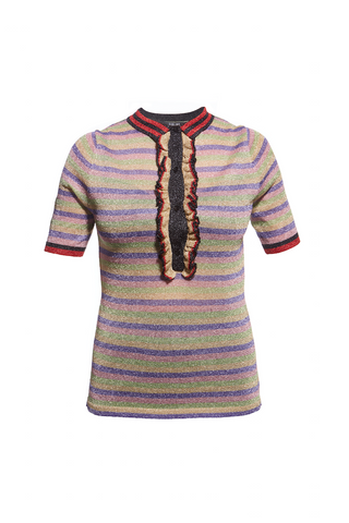 SS16 STRIPE FRILL LUREX POLO SHIRT