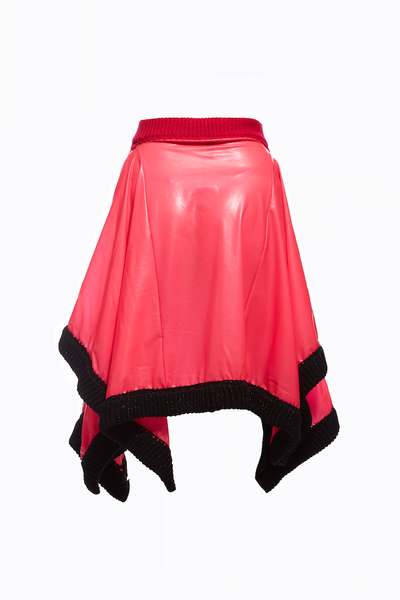 AW15 SHOWPIECE LATEX RIB TRIM SKIRT