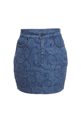 SS16 DENIM SWIRL PRINT MINI SKIRT