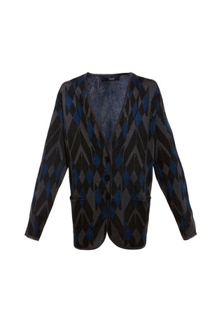 AW16 DEMOLITION CHEVRON JACQUARD V NECK CARDI