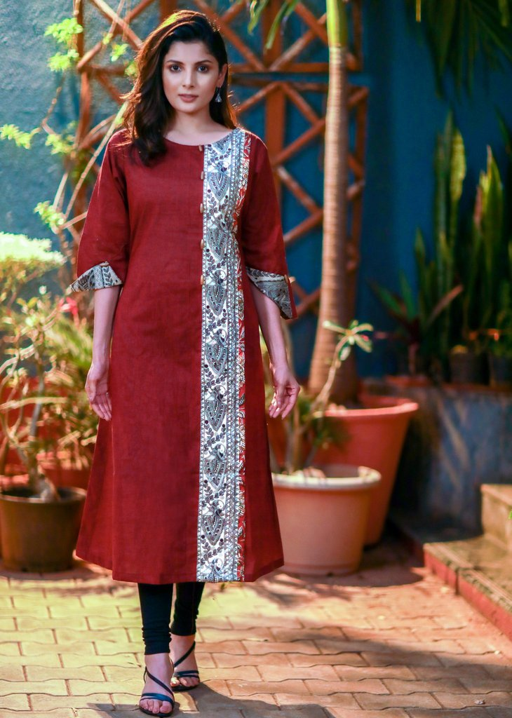 Maroon handloom cotton kurti with madhubani combination