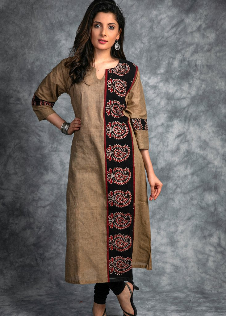 Handloom cotton kurti with ajrakh handblock print