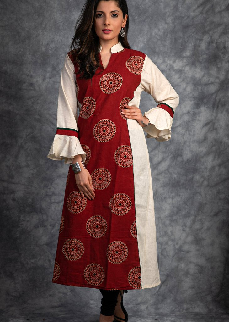 Hand block printed ajrakh cotton and off white combination kurta
