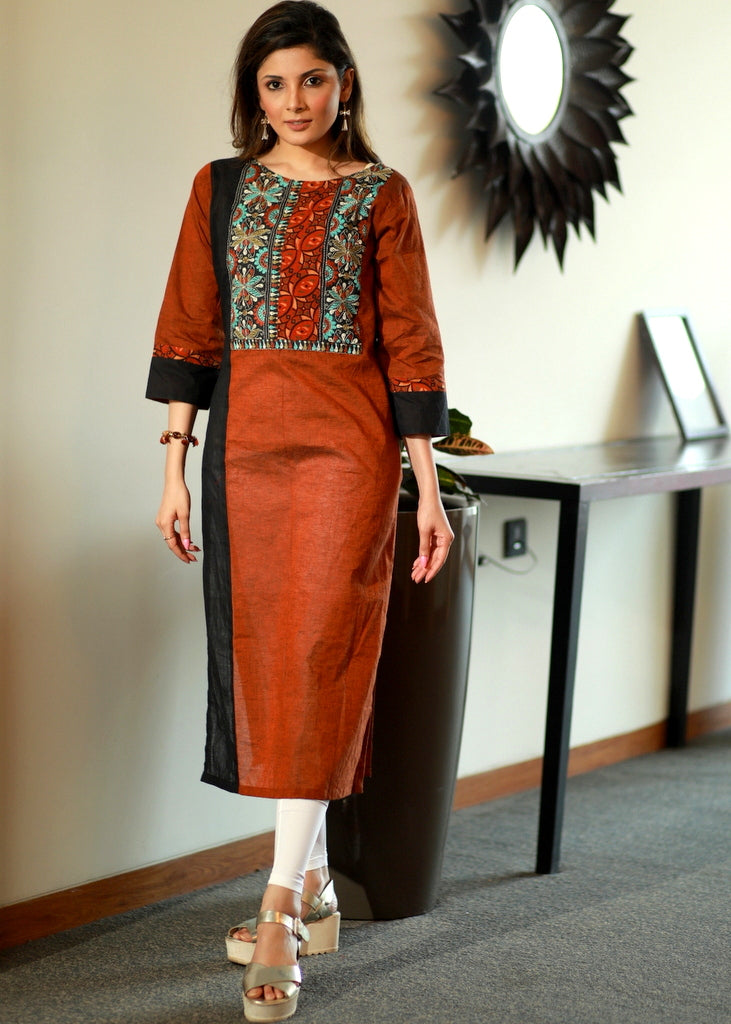 Rust Straight cut Cotton Handloom Kurta with Kantha & Ajrakh yoke