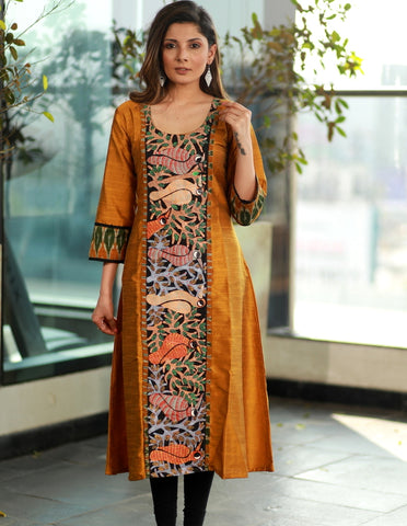 Mustard A-line Cotton Silk Kurta with Exclusive Gond Tribal  Hand painting and Ikat sleeves