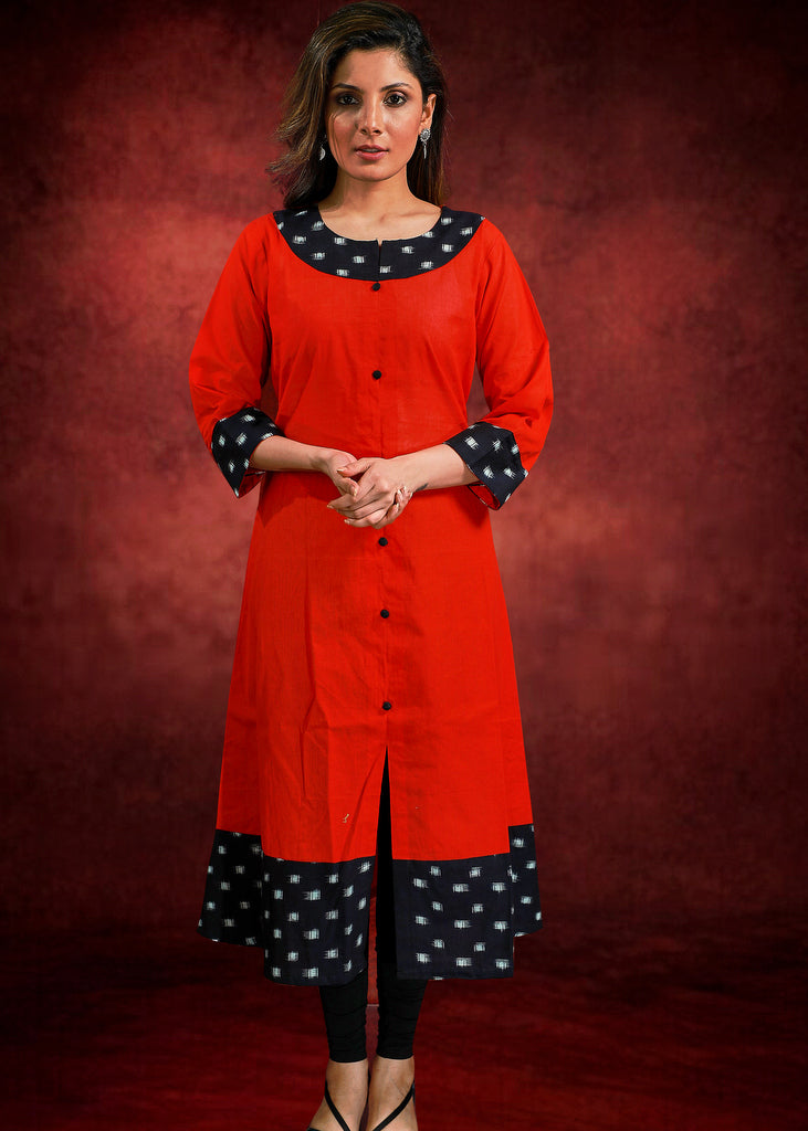 Red Handloom Cotton Kurta with Contrasting Ikat Combination