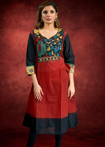 Maroon Handloom Cotton Kurta with Hand painted Kalamkari Yoke and Cuffs