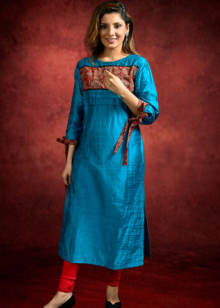 Cotton Silk Indigo Blue dress with Ajrrakh patch