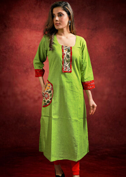 Green Handloom Cotton Kurta with Kantha Work