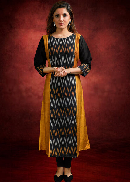 Mustard cotton silk & Ikat Combination Kurti