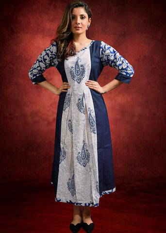 Blue handloom cotton & indigo combination kurti