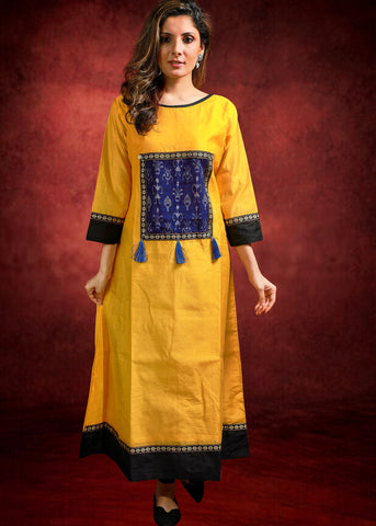 Yellow Chanderi Kurta with Sambalpuri Ikkat panel