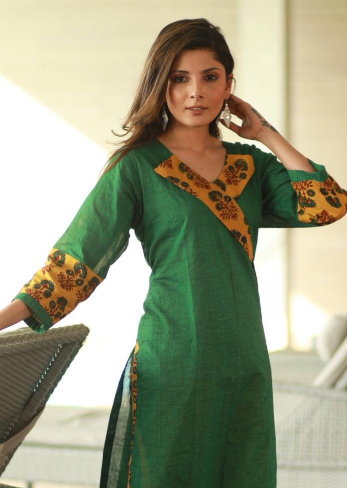 Green Straight cut Handloom cotton kurta with Ajrakh Collar and sleeves