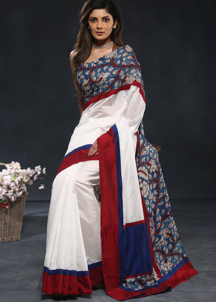White Chanderi saree with hand painted kalamkari border