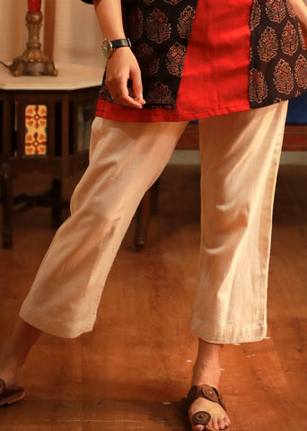 Pure handloom cotton off white pant