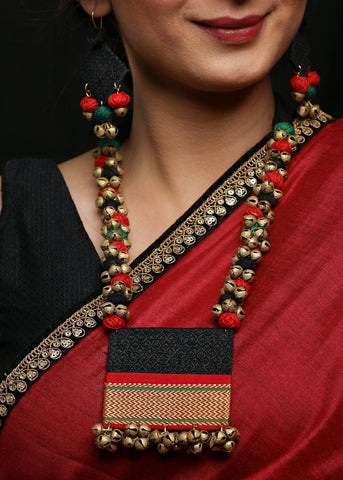 Black Khun fabric necklace with matching jhumkas