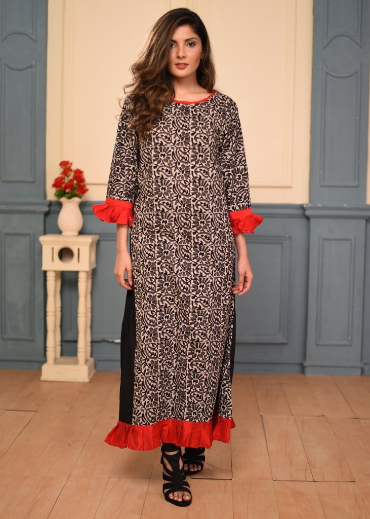 Exclusive Dabu printed cotton frill border dress