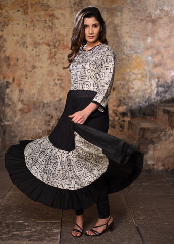 Black handloom cotton with exlcusive printed rayon frilled anarkali