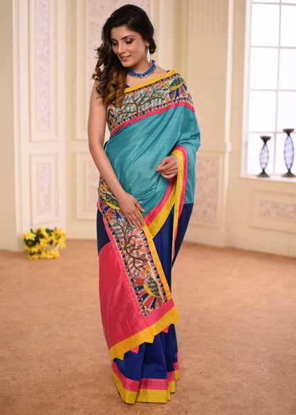 Blue Semi Silk with hand painted madhubani border with navy blue combination pleats saree