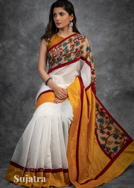 Chanderi saree with hand painted kalamkari border