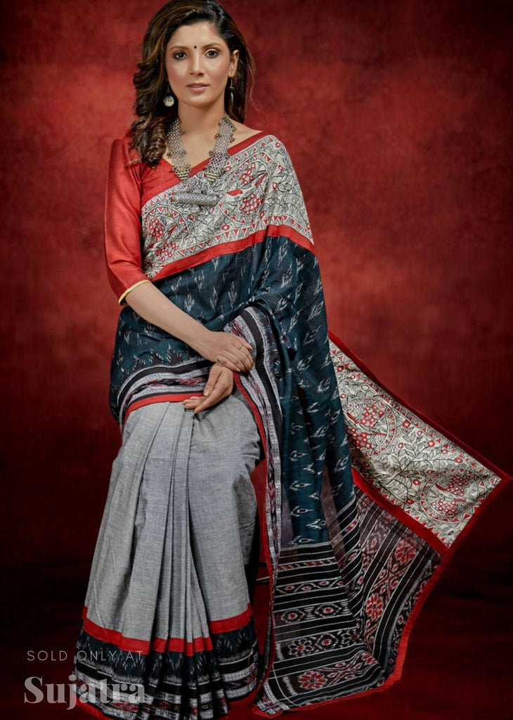 Exclusive Sambalpuri ikat cotton saree with hand painted madhubani work