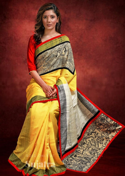 Yellow silk saree hand painted madhubani work in front
