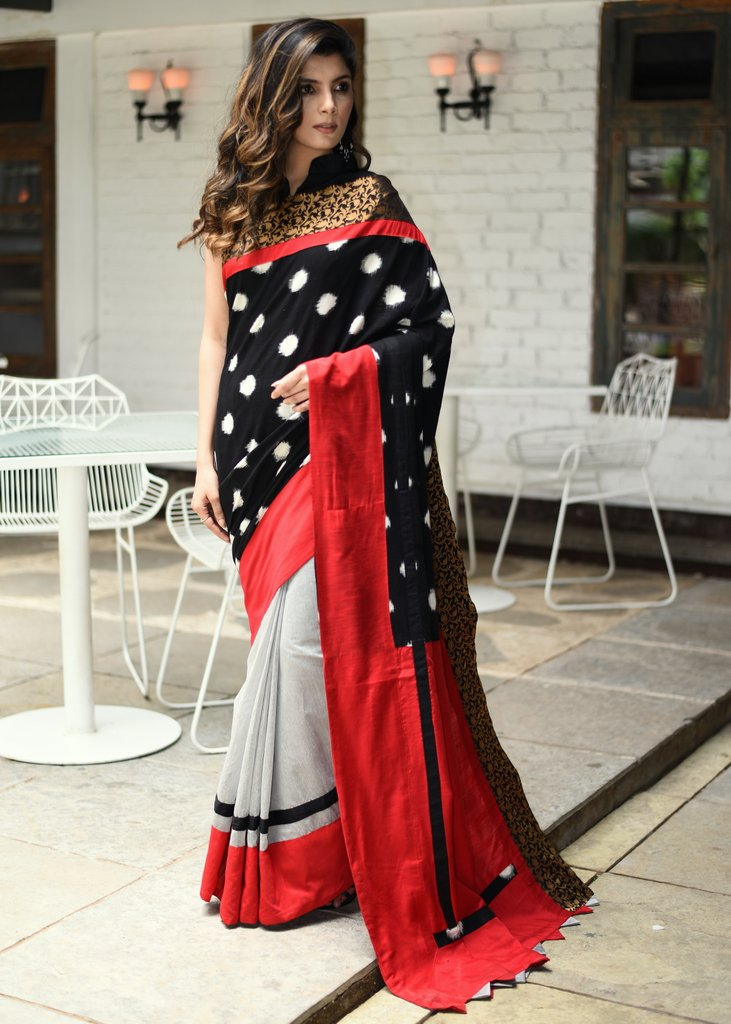 Exclusive Ikat and chanderi combination saree with zari border