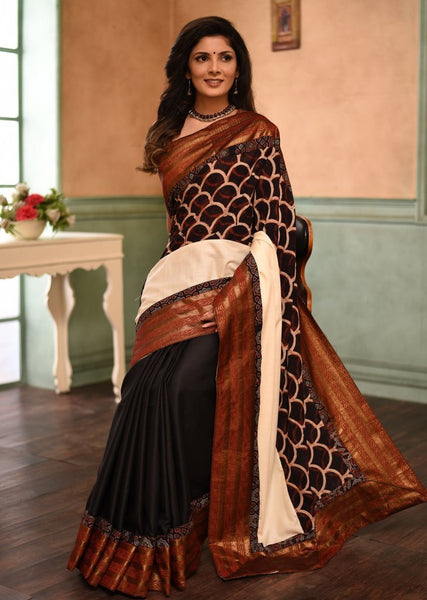 Exclusive ajrakh & handloom cotton combination saree with benarasi border