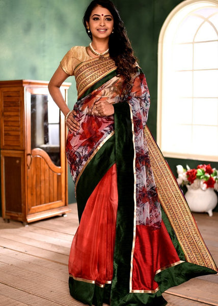 Exclusive printed organza saree with heavy zari border