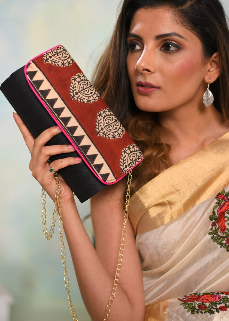 Exclusive bagru printed clutch