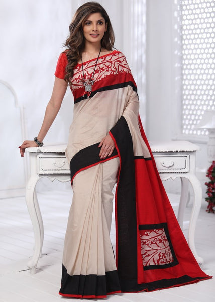 Off White Chanderi saree with hand batik border & cotton silk pallu