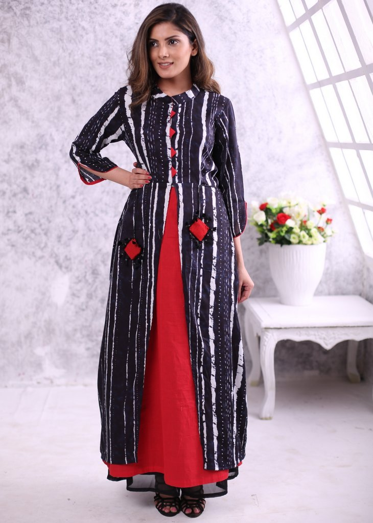 Abstract print rayon jacket dress with contrast handloom cotton inner with pocket shape tassels