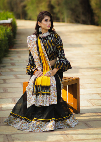 Black chanderi saree with exclusive block printed border