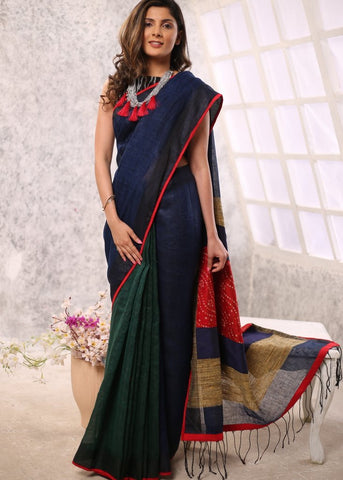 Navy blue & green combination pure linen saree with bandhani & ghicha pallu