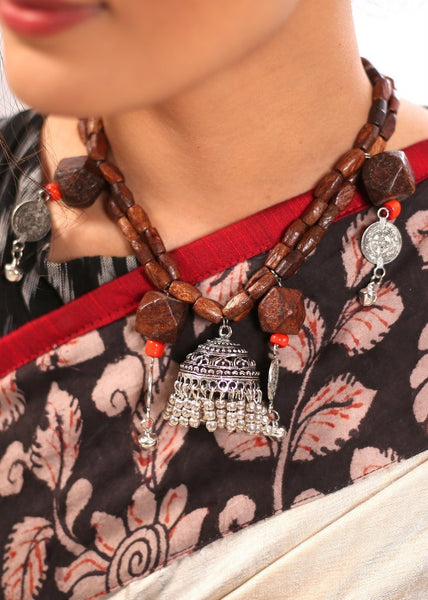 Wooden beads hand made neckpiece with jhumka pendant - Sujatra