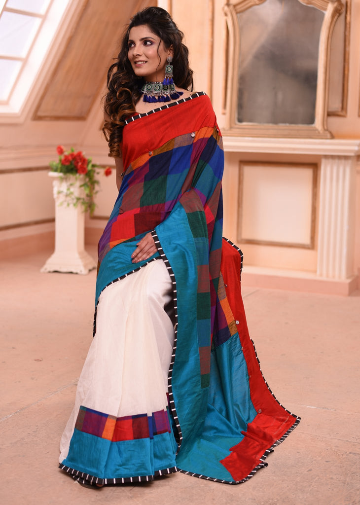 Chequred handloom cotton saree with white chanderi pleats - Sujatra