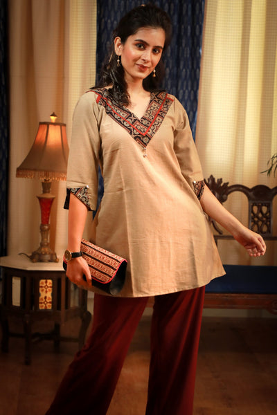 V-Neck Ajrakh block printed border beige pure cotton top - Indian / Western