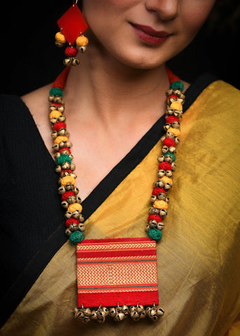 Red Khun fabric necklace with matching jhumkas