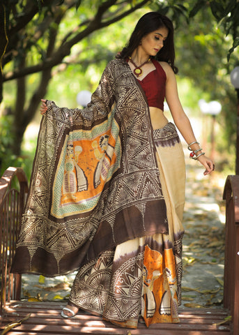 Pure tassar silk saree with exclusive & intericate hand batik work all over