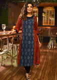 Exclusive block printed rayon kurti with indigo combination