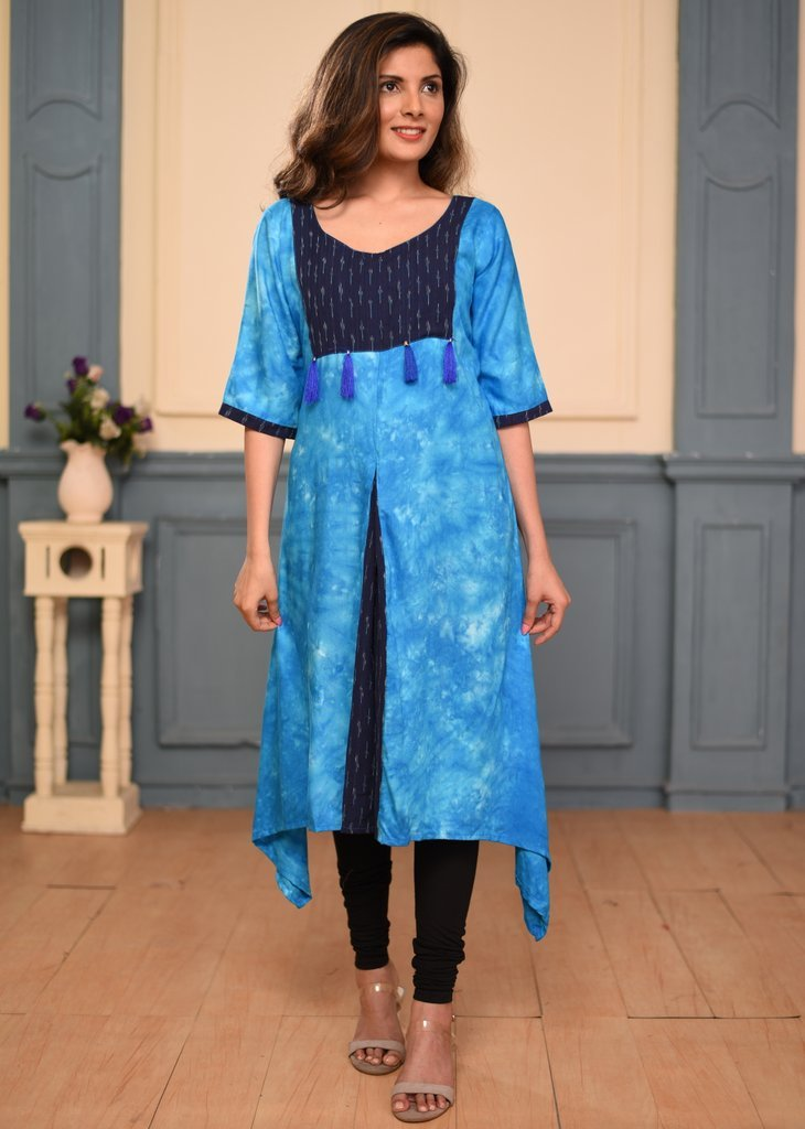 Blue tie & dye rayon with ikat yok A line dress