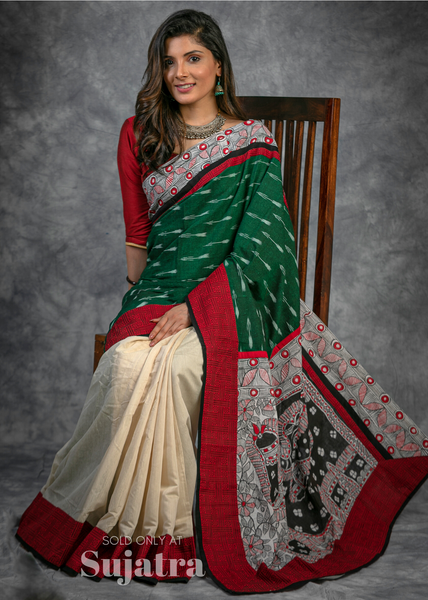 Ikat & hand painted madhubani combination saree with chanderi pleats