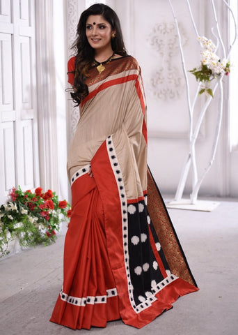 Exclusive beige & red combination semi silk saree with ikat pallu & intricate zari border