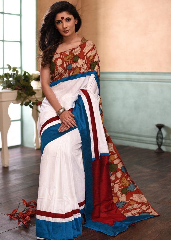 White semi silk saree with hand painted kalamkari border - Sujatra