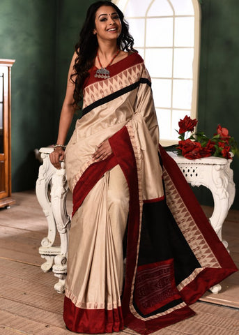 Off White semi silk saree with elegant sambalpuri border & path on pallu