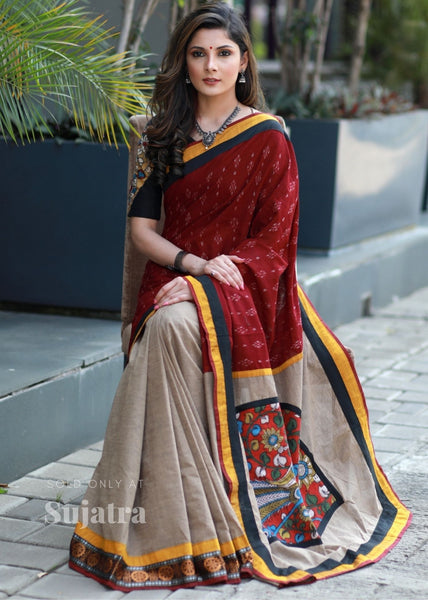 Exclusive sambalpuri ikat combination saree with hand painted kalamkari patch on pallu