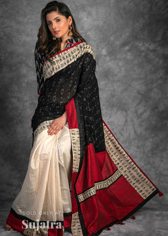 Exclusive sambalpuri ikat & kantha embroidered border with chanderi pleats combination saree